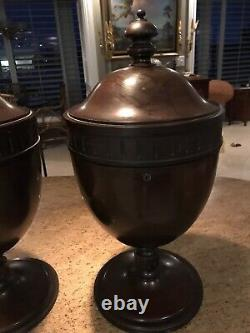 Antique PAIR of RARE Mahogany Knife/Cutlery Silverware URNS/KNIFE BOXES 23 TALL