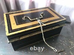 Antique Vintage Victorian Rare Made In England Safe Cash Box Till