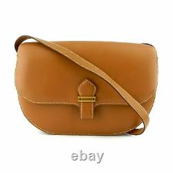 Hermes Vintage Gold Box Calf Leather Saddle Crossbody Bag Rare