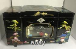 Japanese. Black Lacquer Jewelry, music Box Lights Rare Ship Inside Box Vintage