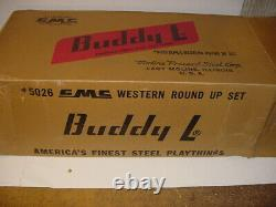 RARE 1950's Vintage Buddy L Western Round Up Set WithGMC Truck WithBox