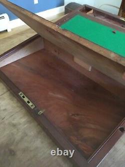 RARE! BIG! Antique 19th C Solid Mahogany Traveling Lap Desk Writing Box With Key