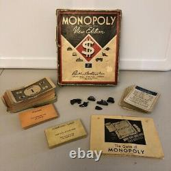 RARE Vintage 1936 Monopoly New Edition BROWN BOX Partial Game