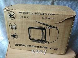 RARE Vintage OLD Soviet USSR Portable Television TV ELEKTRONIKA 409D with BOX