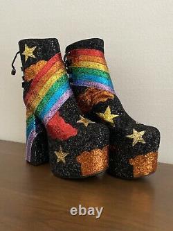 Rainbow Glitter Platform Boots Rare New With Box