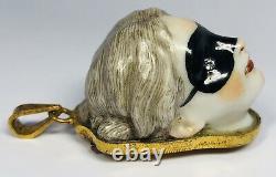 Rare Antique 19th Century French Porcelain Masked Lady 10K Vinaigrette Patch Box