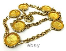 Rare Authentic CHANEL Vintage 90s CC Coco Mark Chain Belt Gold with Box