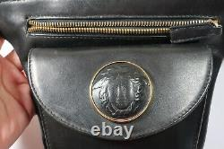 Rare VINTAGE Gianni VERSACE Black Leather Medusa Face Waist Bag Belt
