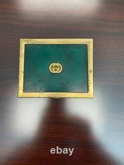 Rare Vintage 1970s GUCCI EMERALD GREEN & Gold Cigarette Box withWood Interior