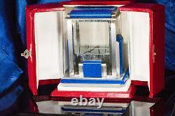 Rare Vintage Cartier Mystery Prism Lapis Clock with Coin Edge Case & Original Box