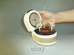 Rare Vintage Dancer Musical Alarm Clock With Reuge Dancing Ballerina Music Box