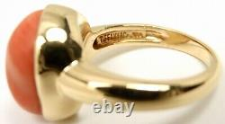 Rare Vintage Tiffany & Co Elsa Peretti 18K Gold Coral Heart Ring Size 5.75 withbox