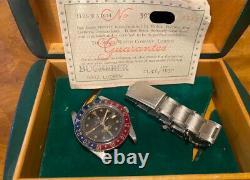 Rolex 1958 6542 GMT Vintage Watch box and paper super rare pre 1675