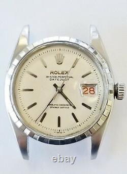 Rolex Rare Vintage Stainless Datejust Large Bubbleback 6305-2 Crenelated Bezel