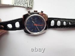 Sandoz Chronograph Valjoux 7733 With Box Rally Strap & Stc Bracelet Rare V/G/C