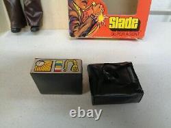 VINTAGE 1975 SHINDANA TOYS SLADE SUPER AGENT FIGURE DOLL With BOX RARE MEGO STYLE