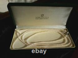 VINTAGE RARE MIKIMOTO Cultured Sautoir Pearl Necklace Five Foot Length withBox
