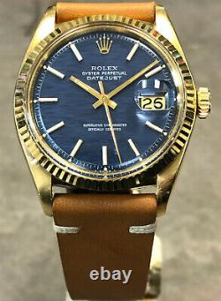 VINTAGE ROLEX DATEJUST 36MM 1601 18K YELLOW GOLD RARE BLUE BRICK DIAL WithBOX