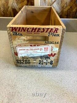 VTG. RARE WINCHESTER SUPER W SPEED 28ga 6 SHOT GUN CARTRIDGES AMMO CRATE / BOX