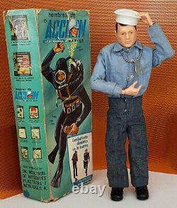 Vintage Action Man LEDY MEXICO (GI JOE) Marine 1964 Original Box & Accs RARE