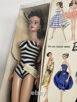 Vintage Brunette Ponytail Barbie #4 1960 NRFB RARE fantastic condition