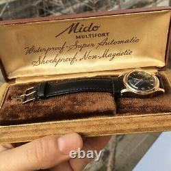 Vintage Mido Multifort Super Automatic Bumper Watch Rare Black Dial Original Box