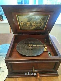 Vintage Rare Thorens Large 11 Inch Disk Music Box With Cherry Finish