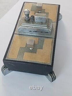 Vintage Ronson Touch Tip Art Deco Lighter Chrome Metal Double Cigarette Box RARE