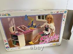 Vintage Sindy Doll Work Desk & Chair Set With All Accessories Box Hasbro 90s Rare