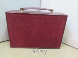 Vintage rare Cartier jewelry travel box leather and Swede Burgundy from the 80s