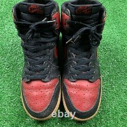 1985 Nike Air Jordan 1 Noir Red Bred Sz 8 No Box Rare Og Vintage Chicago One