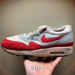 1987 Nike Air Max 1 Og Rouge Et Avec La Boîte De Réception Sz 10,5 Vintage 1985 Jordan Rare