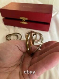 4 Bagues Cartier Huge Rare Vintage Trinity Nappkin Dans La Boîte D'origine