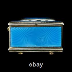 Antique 20e C Rare Francais Solide Silver-gilt & Enamel Bird Automaton Box C. 1910