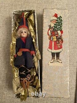 Antique Rare Tous Originale Bisque De Noël Mignonette Poupée Boîte De Noël