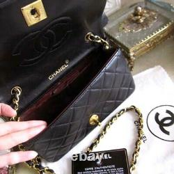 Authentique Chanel Noire Matelassée Matelassée CC Sac À Bandoulière Avec La Boîte Rare Vintage