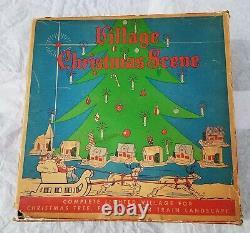 Avec Box Vintage Putz Christmas Village Avec Santa & Sleigh Reindeer Church Rare