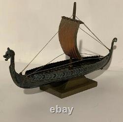 Edward Aagaard. Rare Mint Vintage Bronze Viking Dragon Navire Dans Original Box