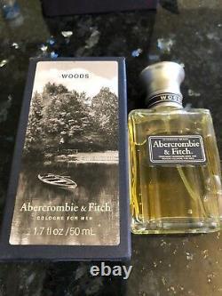 Hommes Vintage Abercrombie & Fitch Woods Cologne 1,7 Fl Oz/50 ML Rare Nouvelle Boîte