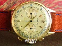 Movado Vintage Chronograph M90 18k Gold Box Livret Original All! Très Rare