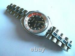 Nos Rare Vtg 70s Bulova Snorkel 666 Automatique N1 Diver Compresseur 2 Couronnes W Box