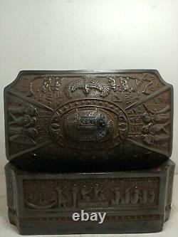 Rare Antique Ancient Egyptian Boîte À Bijoux Scarab Déesse Isis Sphinx 1845 Bc