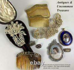 Rare Antique Georgian Seed Pearl 4.5 X 3 Broche, Épingle À Cheveux, Original Box Muse