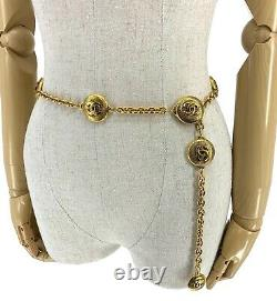 Rare Authentique Chanel Vintage 90s CC Coco Mark Chain Belt Gold With Box