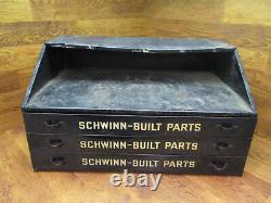 Rare Collectionneuse Vintage Antique Pièces De Construction Schwinn Épingle Armoire Tiroir Boîte À Outils