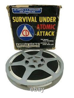 Rare Film Vintage 16mm Survival D'armes Nucléaires Sous Attack Atomique Avec Boîte