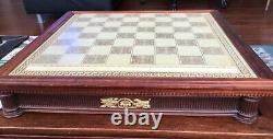 Rare Franklin Mint Jeu D'échecs Des Dieux Grande Porcelaine 6.5 King Board 24k Htf