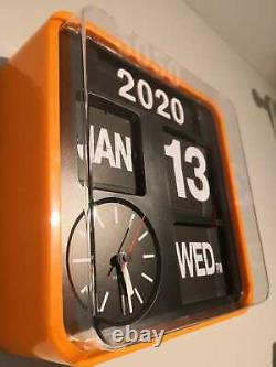 Rare Karlsson Vintage Wall Flip Clock (orange) 24.5x24,5x10cm Avec Boîte