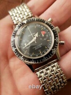 Rare Nivada Croton Chronomaster Vintage Chronograph Watch Avec Box Valjoux 23