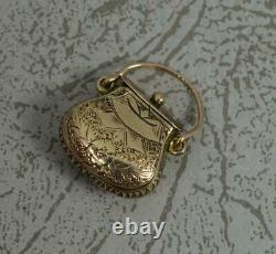 Rare Nouveauté Géorgien 9ct Sac De Purse D'or En Forme De Boîte Pendentif